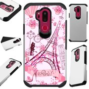 For LG X Power 3 (2018) Case Hybrid TPU Fusion Phone Cover (Eiffel Tower Butterfly)