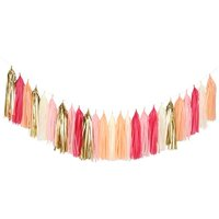 Pink and Gold Tassel Garland - Valentines Birthday Party Decor, Bachelorette, Galentines Day, Gender Reveal, Christening Girl Baby Shower Decorations A07