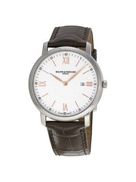 Baume & Mercier Baume and Mercier Classima Silver Dial Brown Leather Mens Watch 10181