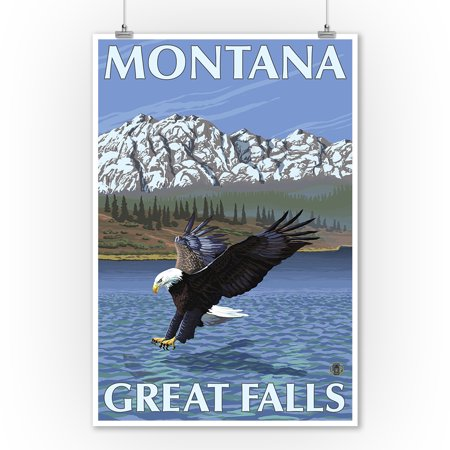 Great Falls  Montana   Eagle Fishing   Lantern Press Original Poster  9X12 Art Print  Wall Decor Travel Poster