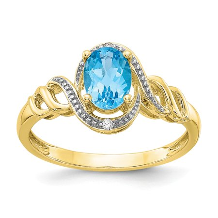 10k Yellow Gold Polished Open back Light Swiss Blue Topaz Diamond Ring - .02 dwt .89 (Diamond Open Ring Swiss)