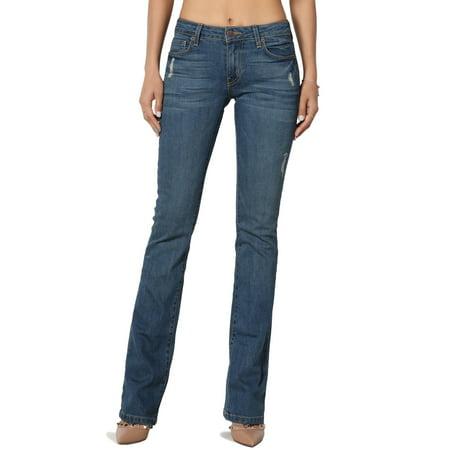 TheMogan Women's Versatile Vintage Washed Stretch Denim Mid Rise Slim Bootcut Jeans ()
