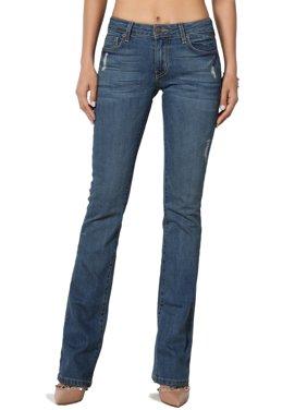 48563c25 Product Image TheMogan Women's Versatile Vintage Washed Stretch Denim Mid  Rise Slim Bootcut Jeans