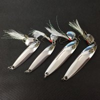 Lixada 4pcs Metal Fishing Lure Hard Baits Sequins Spoon Noise Paillette with Feather/Treble Hook 5/7/10/13g