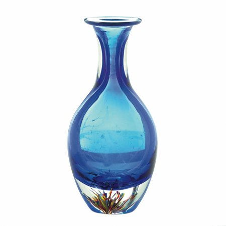 Blue Glass Vase Silver Plated (Decorative Glass Vase, Unique Centerpiece Contemporary Blue Art Bottleneck Vase )