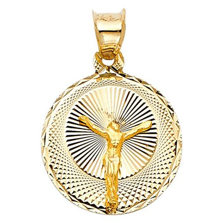 Precious Stars Jewelry 14k Yellow Gold Diamond-cut Crucifix Round Pendant