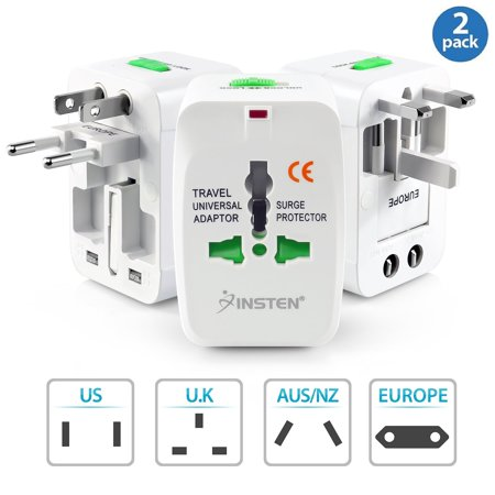 Insten 2 Pack Universal Travel Ac Plug Power Charger Adapter For Us Uk Eu Au Worldwide International