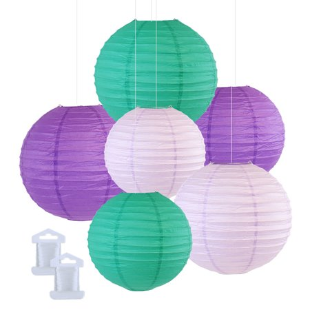 Just Artifacts 6pcs Assorted Size Decorative Round Hanging Paper Lanterns (Color: Teal, Lavender, & Royal Purple) ()