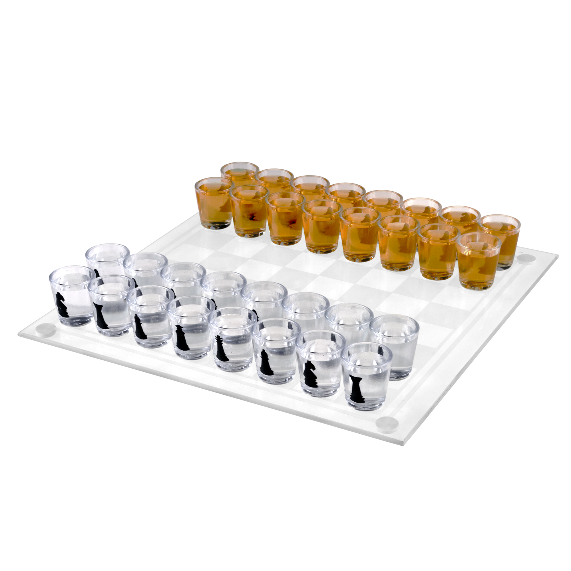 Shot Glass Chess and Checkers Game Set- 2 in 1 Drinking Game Set for Party or Game Night with Glass Game Board and 32 Shot Glasses by Hey! Play!