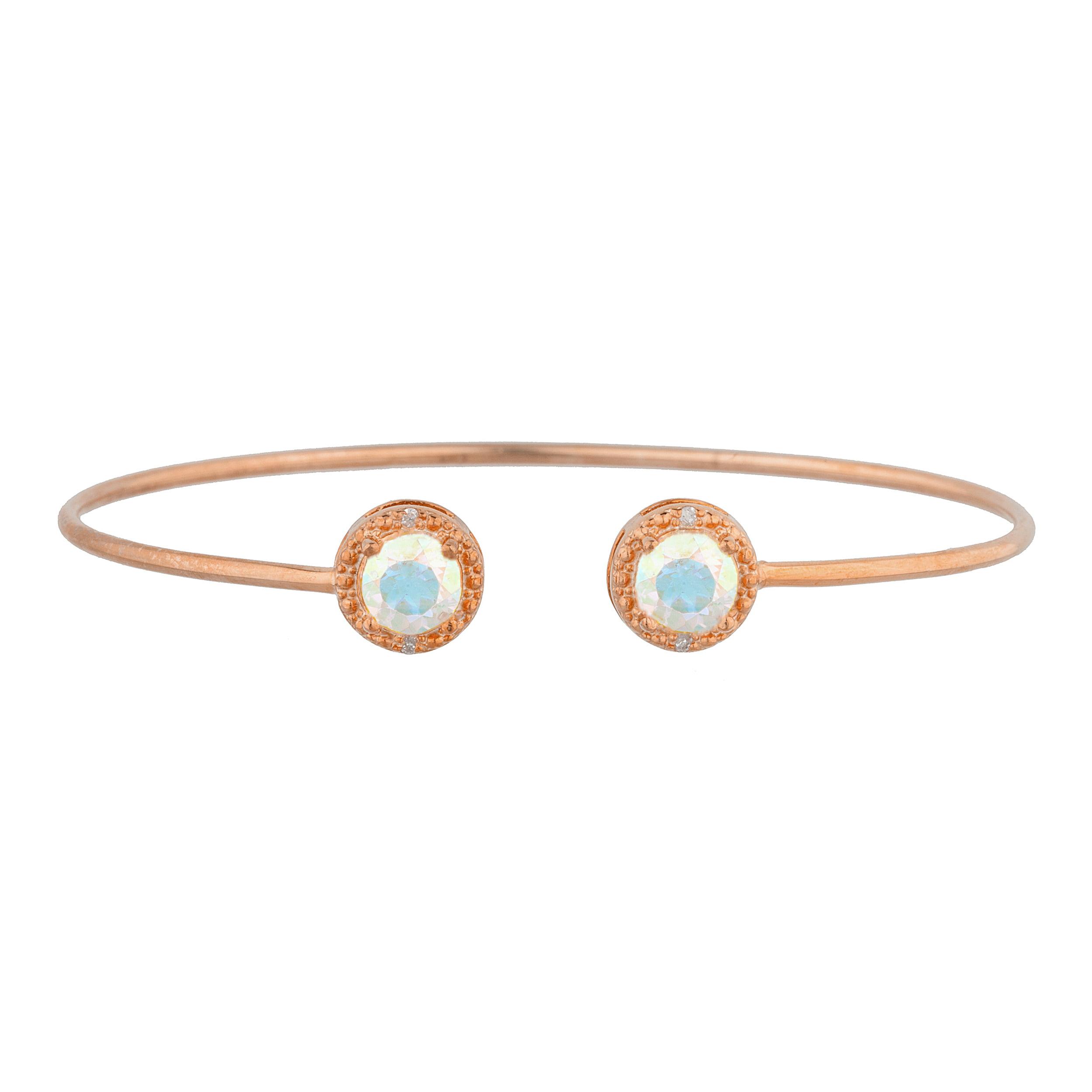 14Kt Rose Gold Plated Natural Mercury Mist Mystic Topaz & Diamond Round Bangle Bracelet by Elizabeth Jewelry Inc