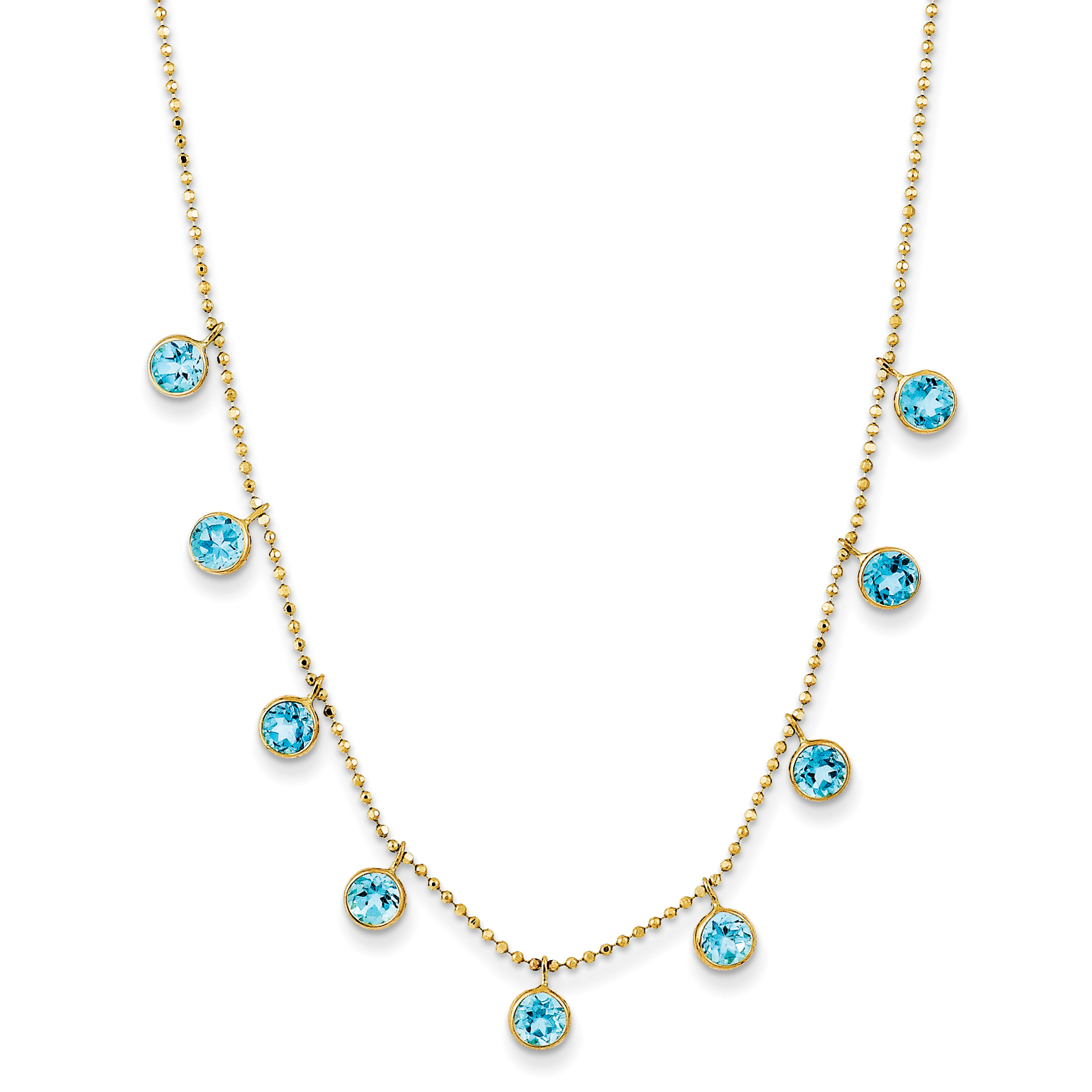 14k Yellow Gold Blue Topaz w 2in ext. Necklace by