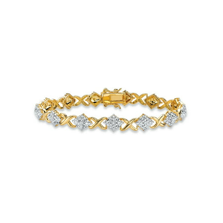 Diamond Accent Pave Style X And O Tennis Bracelet 14k Yellow Gold