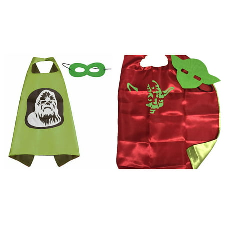 Star Wars Yoda & Chewy Costumes - 2 Capes, 2 Masks w/Gift Box by Superheroes - Yoda Masks
