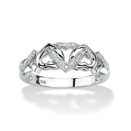 Platinum Cable Ring - Diamond Accent Interlocking Hearts Promise Ring in Platinum over Sterling Silver