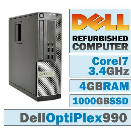 REFURBISHED Dell OptiPlex 990 SFF/Core i7-2600 Quad @ 3.40 GHz/DVI Graphics Card/4GB DDR3/NEW 1000GB SSD/DVD-RW/WINDOWS 7 PRO 64