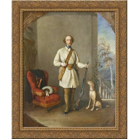 Portrait of Nicolae Golescu 24x20 Gold Ornate Wood Framed Canvas Art by Constantin Daniel Rosenthal