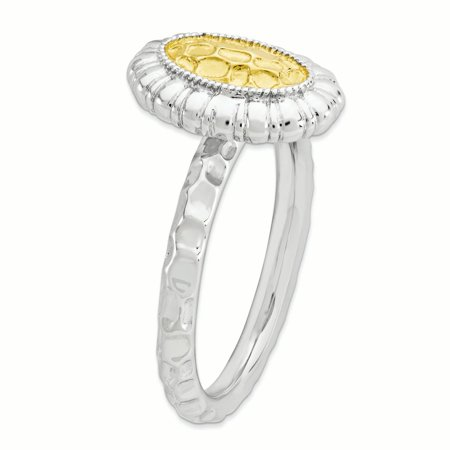 Sterling Silver Stackable Expressions Gold-plated Oval Ring Size 5 - image 3 of 3