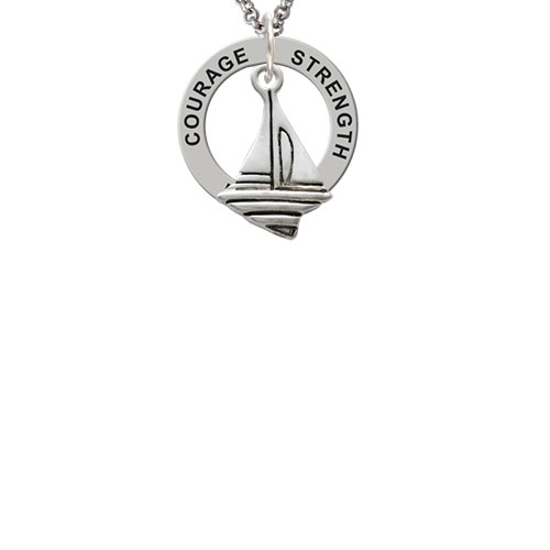 Sailboat Strength Wisdom Courage Affirmation Ring Necklace