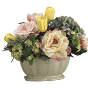 Tori Home Tulip/Rose/Hydrangea in Ceramic Pot