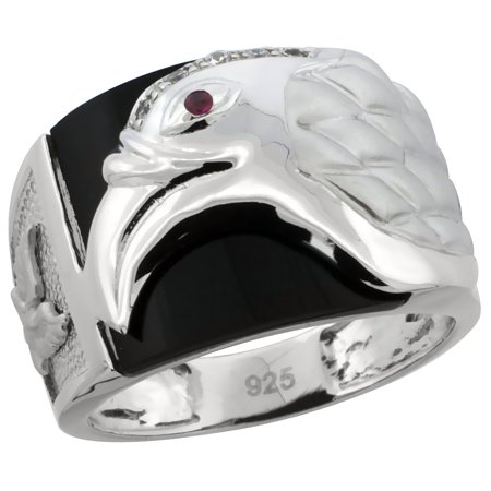 Silver Onyx Eagle Man Ring - Mens Sterling Silver Cubic Zirconia Black Onyx American Eagle Ring 5/8 inch wide