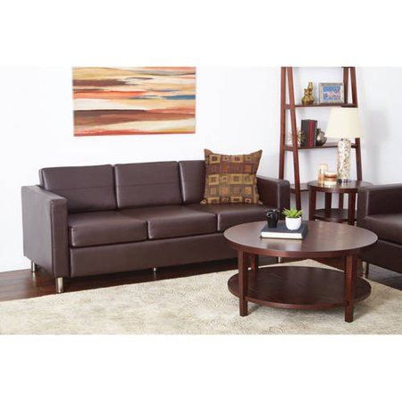 Pacific Easy-Care Espresso Faux Leather Sofa Couch with Box Spring Seats and Silver Color Legs Brown Leather Sofa Beds