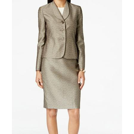 - Le Suit Womens Petites Monte Carlo Jacquard Metalllic Skirt Suit