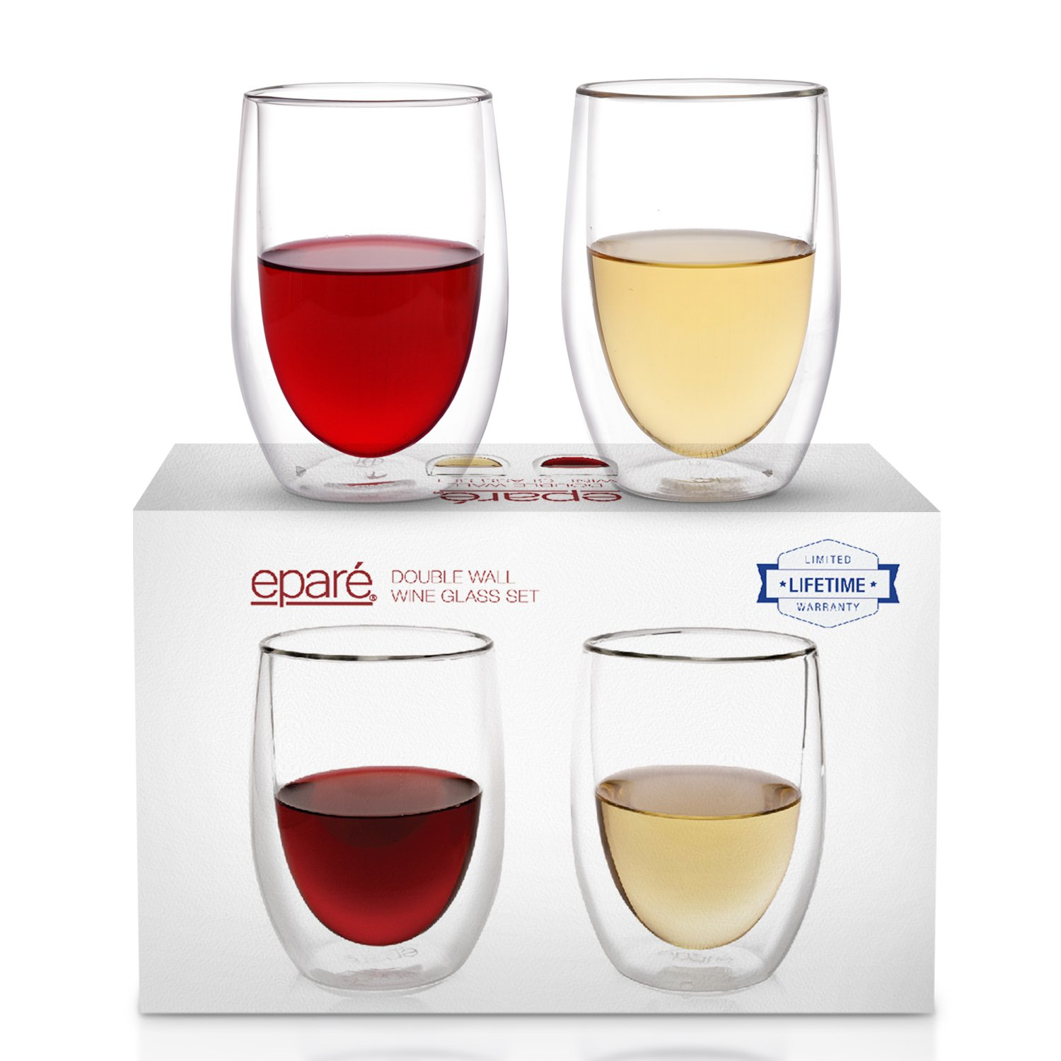 Dragon Glassware Cocktail Glasses Set of 2 8-Ounce Insulating Double Walled Mixing Glasses