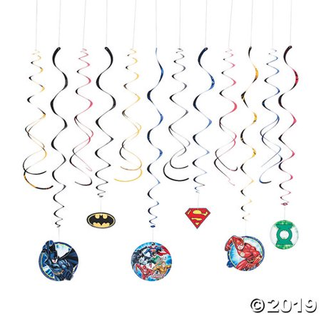 Justice League™ Hanging Swirl Decorations - 12 Pc