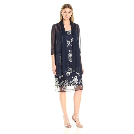 RM Richards Women's Embroidered Tulle Jacket Dress- Mother of the Bride Dresses - Embroidered Jacket Dress