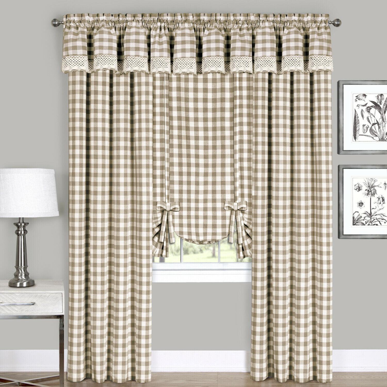 Country Farmhouse Complete 6 Pc Plaid Checkered Window Curtain Treatment Set Assorted Colors Sizes Walmart Com Walmart Com