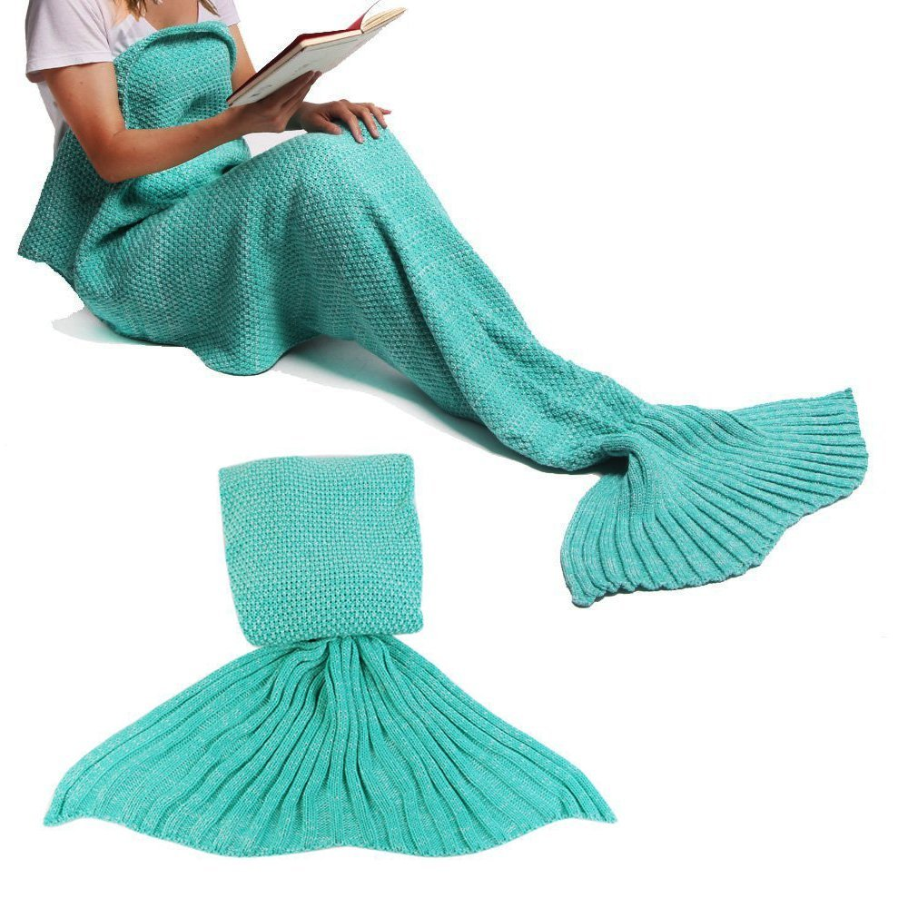 Mermaid Tail Blanket Crochet Mermaid Blanket for Adult, Pretty Handy All Seasons Sleeping Blankets Knitted Sofa Air Conditioning Blanket Sleeping Bags (Green)