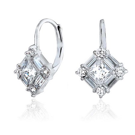Bridal Deco Style Cubic Zirconia CZ Baguette Leverback Drop Earrings For Women For Prom 925 Sterling Silver