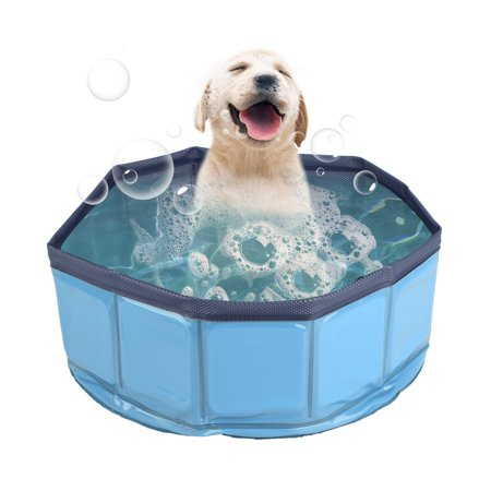TSV Pet Swimming Pool Collapsible Dog Pool, Kiddie Pool, Baby Pool, Dog  Bath Wading Pool, Blue, 1-Pack