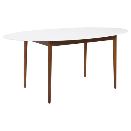 Euro Style Manon Oval Dining Table White Dark Walnut
