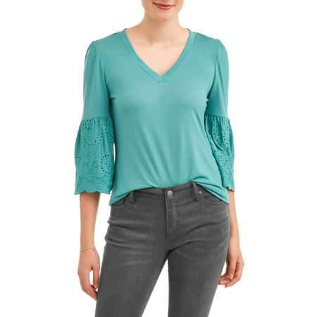 Women's Woven Eyelet Sleeve V-Neck (Eyelet Trim Top)