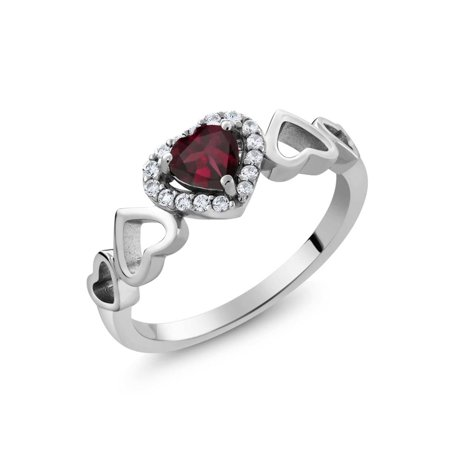 0.71 Ct Heart Shape Red Rhodolite Garnet 925 Sterling Silver Ring