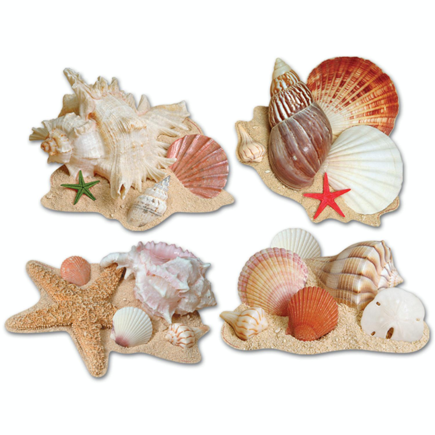 Club Pack of 48 Tropical Nautical Luau Seashell Cutout Party Decorations 17""