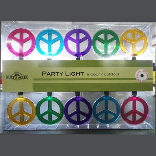 Kurt Adler 10 Light Peace Sign Christmas Lights