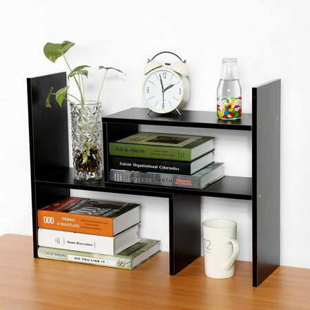 Hilitand DIY Desk Bookcase Table Desktop Storage Rack Display Shelf Organizer Counter Top Bookcase(White, Black, Wood Color) ()