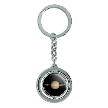 Planet Saturn with Rings Solar System Spinning Round Chrome Plated Metal Keychain Key Chain Ring (Solar Flashlight Key Ring)