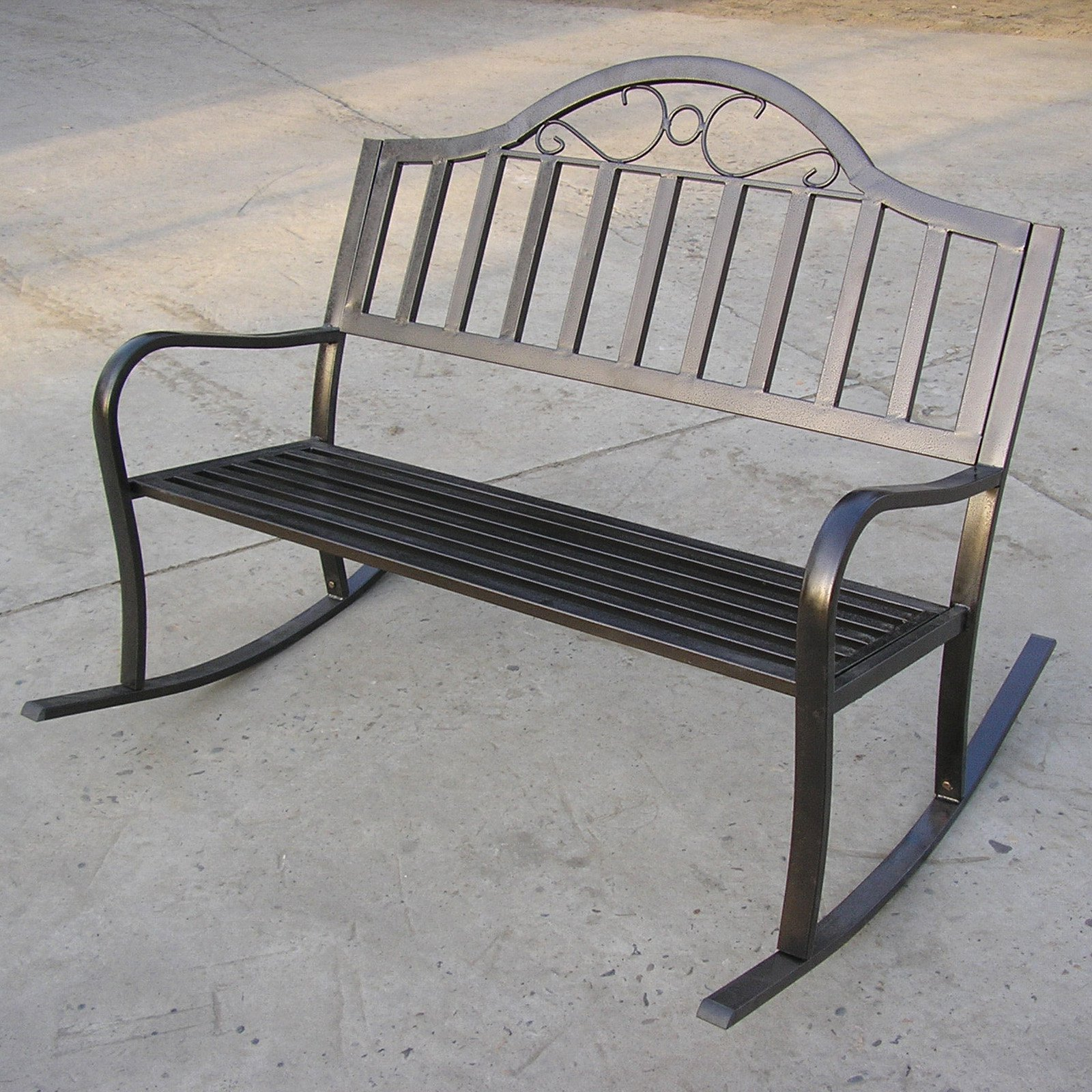 Oakland Living Rochester 50 in. Tubular Iron Rocking Bench in Hammer Tone Bronze Finish