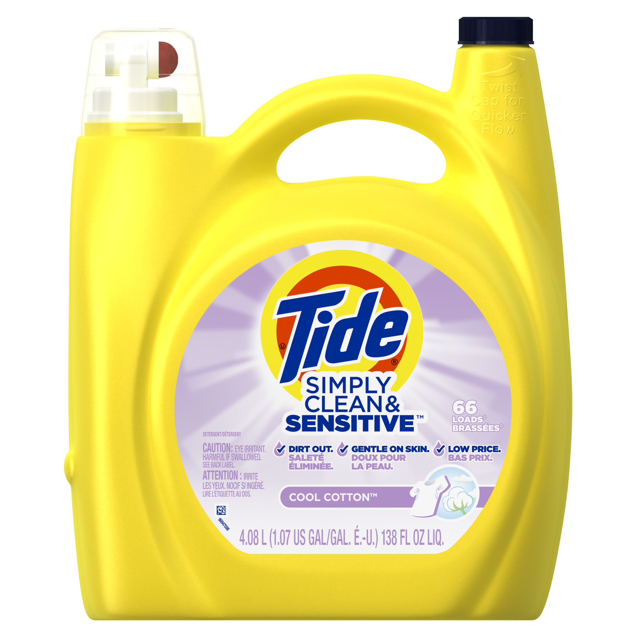 Tide Simply Clean & Sensitive HE Liquid Laundry Detergent, Cool Cotton Scent, 66 Loads 138 Oz