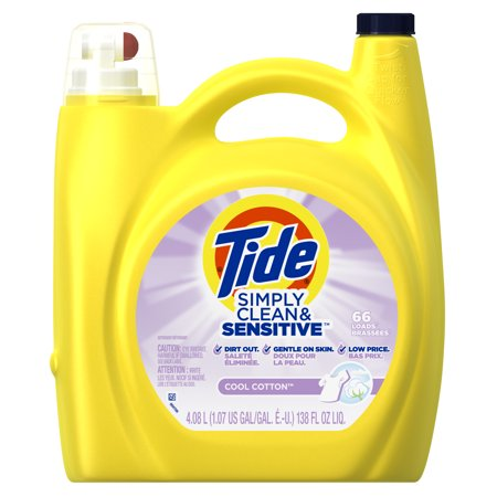 Tide Simply Clean & Sensitive HE Liquid Laundry Detergent, Cool Cotton Scent, 66 Loads 138