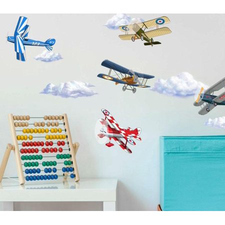 - Vintage Planes Wall Decals w/ Clouds Peel & Stick Decor ~ (10) 5