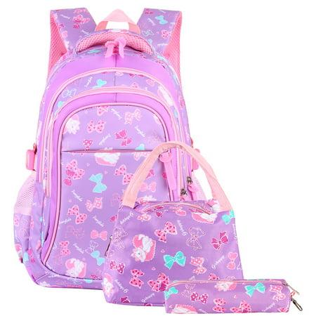 Girls School Backpack Set, Vbiger 3 in 1Student Book Bags Set - Bookbag+Shoulder Bag+Pencil Case Water-Resistant, Purple