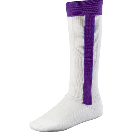 TCK 2n1 All Sport Stirrup Socks for baseball, softball, fast-pitch (Purple,