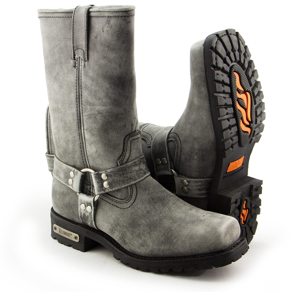 Xelement LU1605 Mens 13in Stone Wash Black Leather Harness Motorcycle Boots