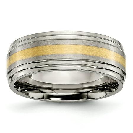 Titanium 14k Yellow Inlay 8mm Brushed Wedding Ring Band Size 9.50 Precious Engagement & Wedding