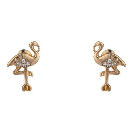 Lux Accessories Gold Tone Tiny Flamingo Bird Crystal RhineStones Stud Earrings