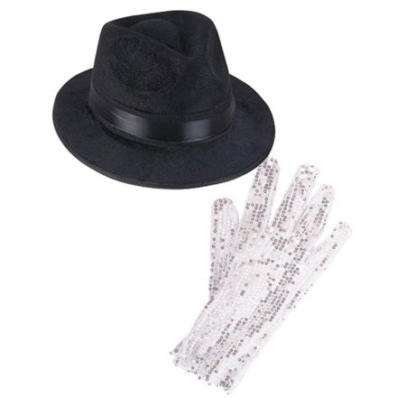 Black Costume Fedora With Michael Jackson Glitter Glove Set Costume Accessories